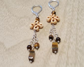 Tiger Eye Dangle with Hand Carved Bone Accent