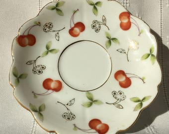 Ucagco China - Made in Occupied Japan - Cherries Saucer - Excellent Condition