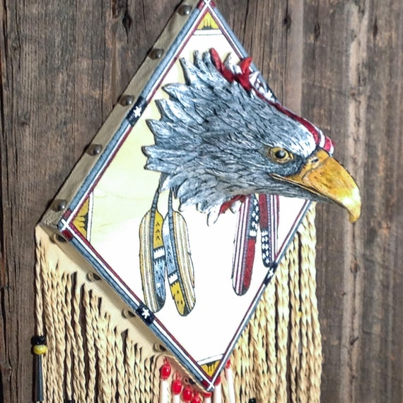 wildlife wall decor buckskin leather wallhanging Original art home decor. wildlife art wolf lovers art American folk art wolf art