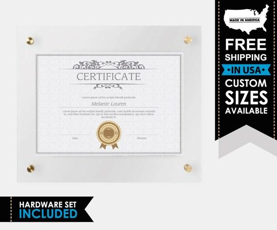 Custom Diploma Frame Certificate Acrylic Frame Document   Etsy