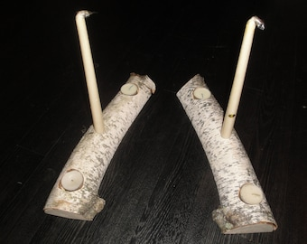 Birch Centerpiece Candle Holder Pair