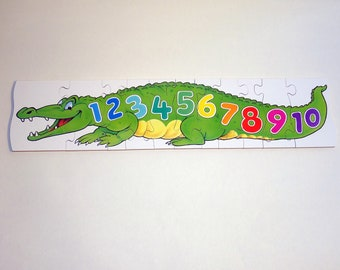 Childrens wooden jigsaw puzzle - Educational kids gift - Crocodile numbers