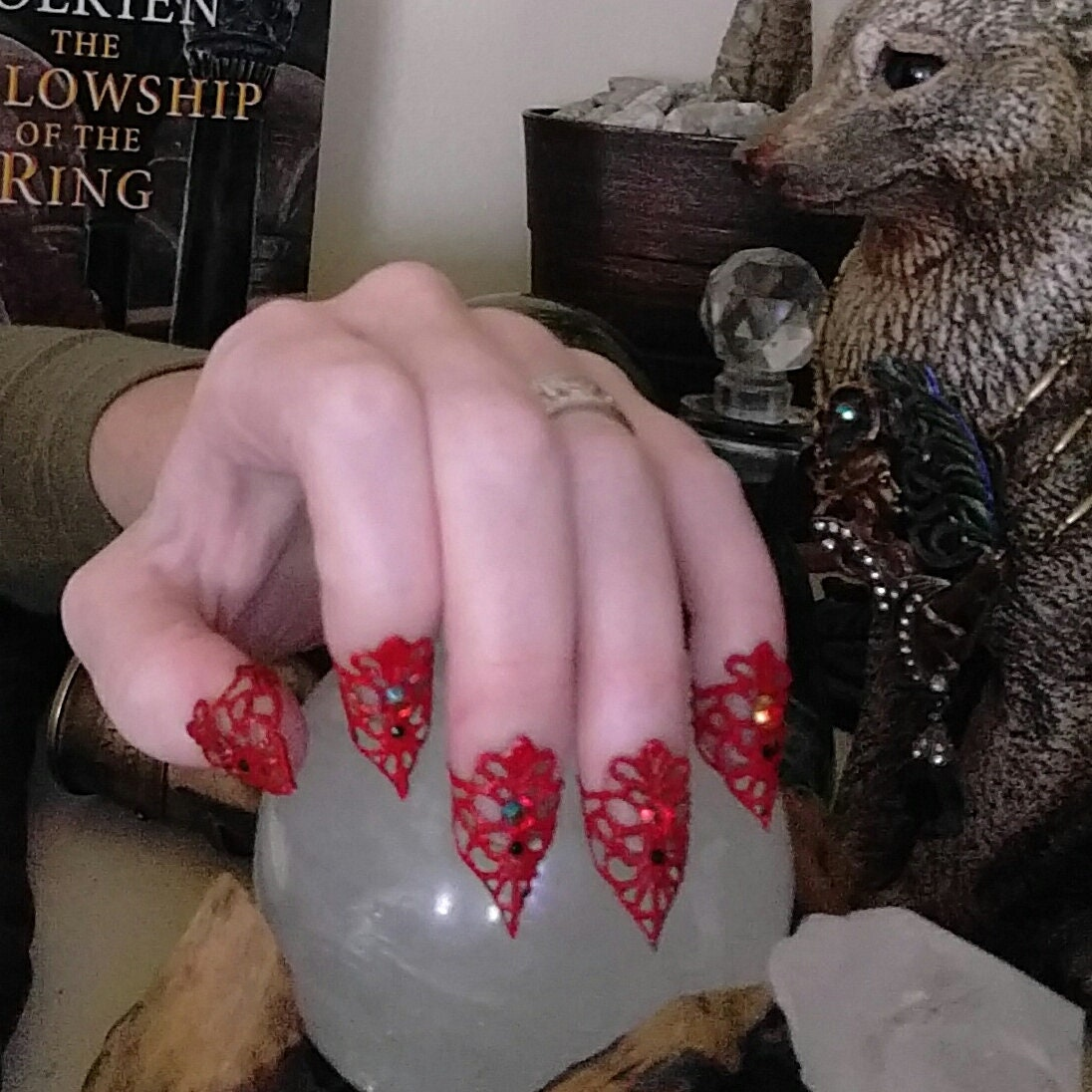 Nail Armor Claw Red Nail Art Evil Queen Nails Vampire Claws Filigree ...