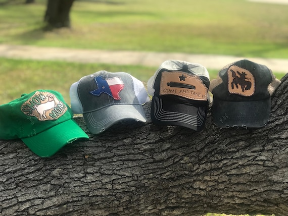 8f013386 Custom trucker hats with handtooled painted leather patch. | Etsy
