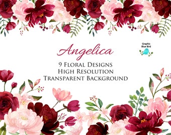 819cdfbbd58 Blush and Burgundy Flowers Watercolor Clipart Collection