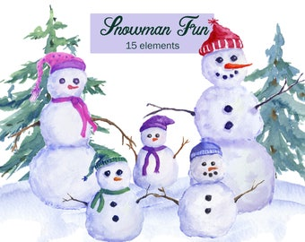 Snowman Clipart Watercolor Family Winter Clip Art Set Of 6 Different Snowmen Pine Trees Scene Christmas Cards