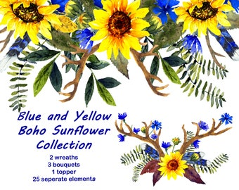 Blue and Yellow Boho Sunflower Collection, Wedding Florals, Includes: 25 Individual Elements and 3 Bouquets, 2 Wreaths, 1 Topper