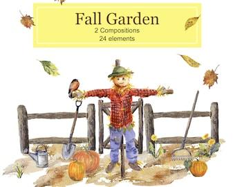 Fall Garden Illustrations, Watercolor Clipart Set: Scarecrow, Pumpkin Patch,  Split Rail Fence,  Wheelbarrow, Gardening Tools, Fall Leaves