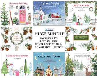 Large Bundle Christmas & Winter Watercolor Clipart, Set includes, Winter Church, Snowman, Pine Wreath, Holly, Deer, Snow Overlay, Pine Trees