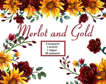 Sunflower Watercolor Clipart in Shades of Merlot and Gold. Sunflowers and Peonies hand painted floral clip art. Designed for DYI projects