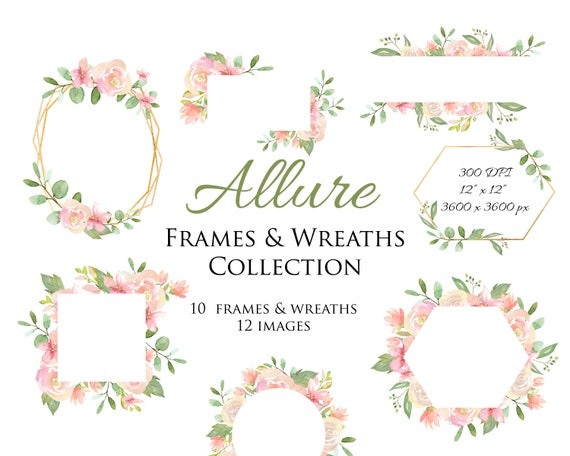 Pink Floral Frames Pink and Blush Floral Watercolor Wreaths | Etsy