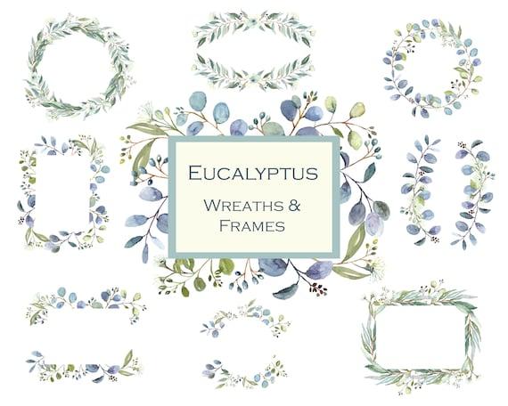 Eucalyptus Frames and Wreaths Greenery Wreath Clipart | Etsy