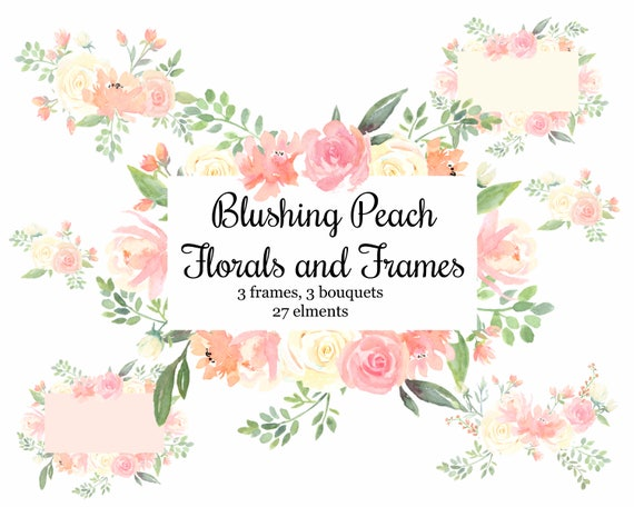 Floral Frames and Flowers Peach and Cream Floral Watercolor | Etsy