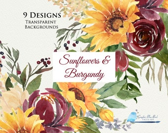 Sunflowers and Burgundy  Flowers  Designs,  Watercolor Sunflowers with Burgundy, Roses & Peonies, Floral Drop, White Rose, Sunflower Wedding