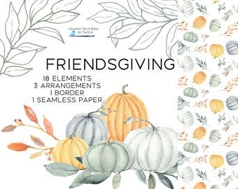 Clipart for Friendsgiving, Clip art for Thanksgiving, Watercolor Pumpkins, Fall Leaves, DIY invitations, Fall Border Design, Fall Clipart