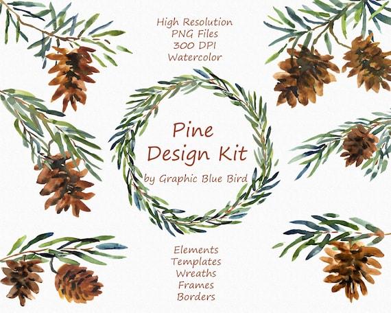 Pine Winter Design Kit includes Wreaths Frames Borders | Etsy