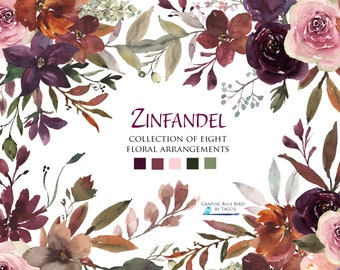 Fall Watercolor Flowers Leaves Floral Bouquets Brown Orange Plum Pink Roses Peonies Clipart Autumn Wedding Watercolor Floral Clipart
