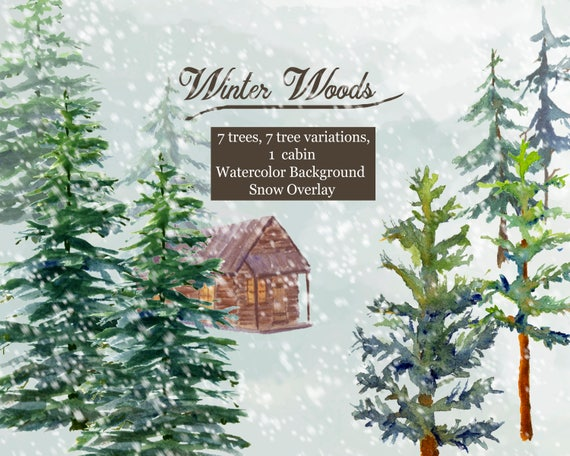 Winter Woods Watercolor Clip Art Pine Trees Snow Log Cabin