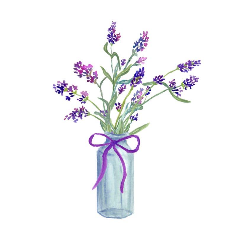 aquarell lavendel blumen lavendel halbkranz lavendel in  etsy