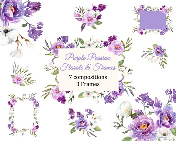 Floral Frames and Flowers Purple and White Floral Watercolor | Etsy