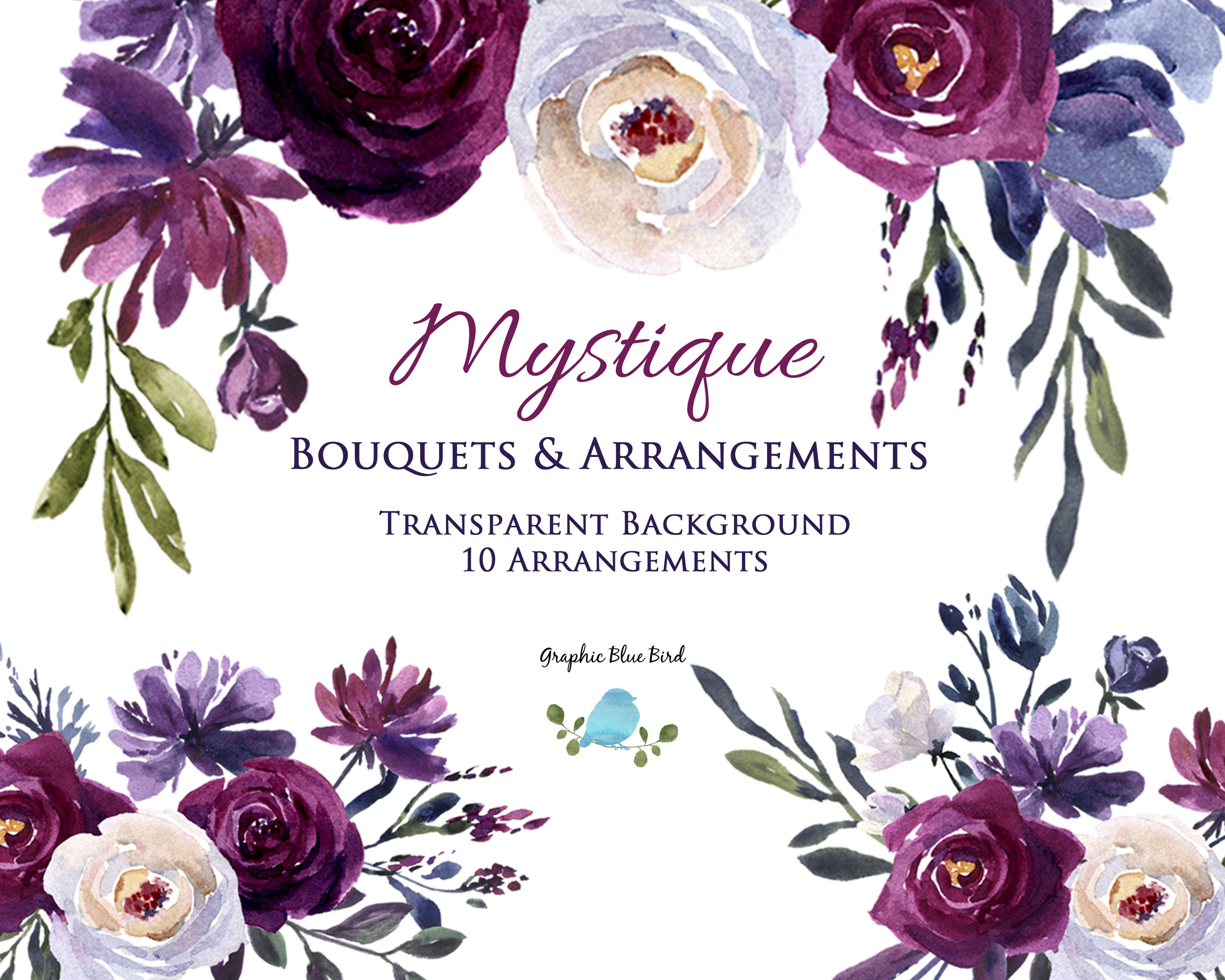 watercolor clipart burgundy blue purple and plum flowers in bouquets and arrangements floral drop border design for wedding invitations