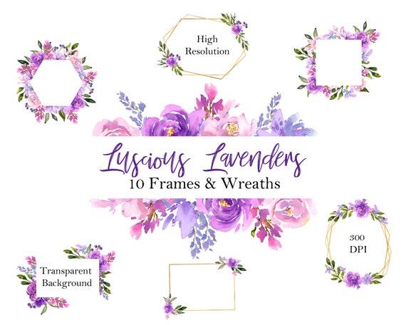 Purple Floral Frames Lavender and Purple Floral Watercolor | Etsy