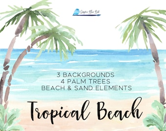 Tropical Beach Backgrounds, Beach, Sand and Palm Trees, Individual Elements and Beach Backgrounds, Beach Wedding, Watercolor Background