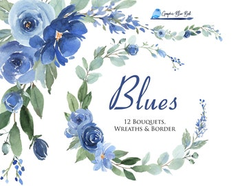 Blue Watercolor Flowers and White Flowers, Watercolor CLipart,Blue Floral Wreaths, Blue Flower Border, Baby Shower, Blue and White Wedding