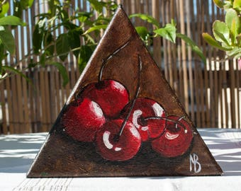 Red cherry Cherry painting Small fruit art Food art Cherry on canvas Garden art Fruit miniature Still life painting Cherry canvas art