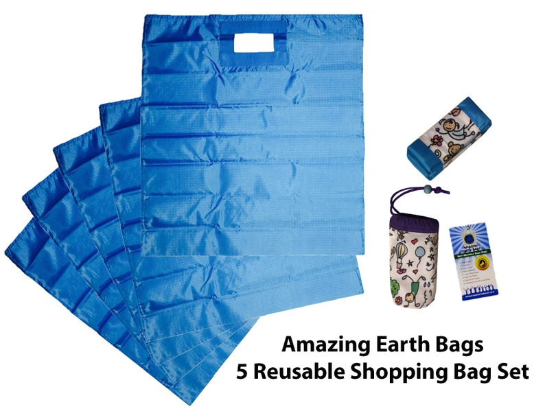 Reusable Bags Set of 5 Very Large Grocery Shopping Strong /& Waterproof Camping -Cats
