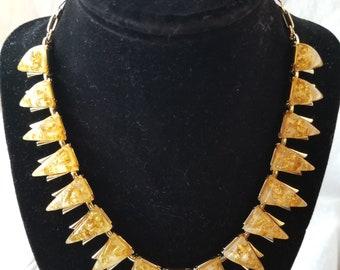 1940s Coro Gold Confetti Lucite Necklace