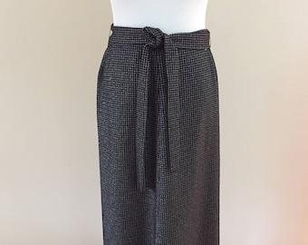 1970s Vintage Black/Silver Metalic Check Knit Maxi Skirt