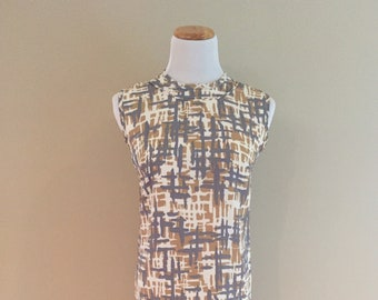 Early 1960s Vintage Camel/Gray/Cream Abstract Pattern Shift