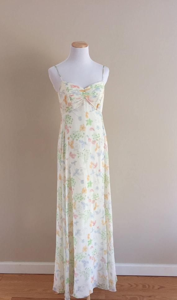 1970's Vintage Garden Floral Maxi Slip Dress