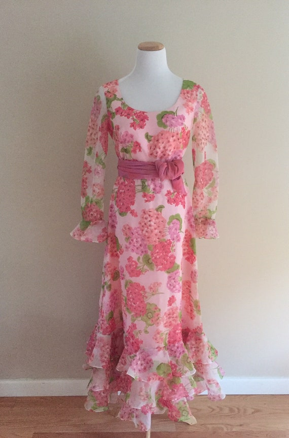 1960's Vintage Sheer Pink Floral Maxi Dress/Nylon