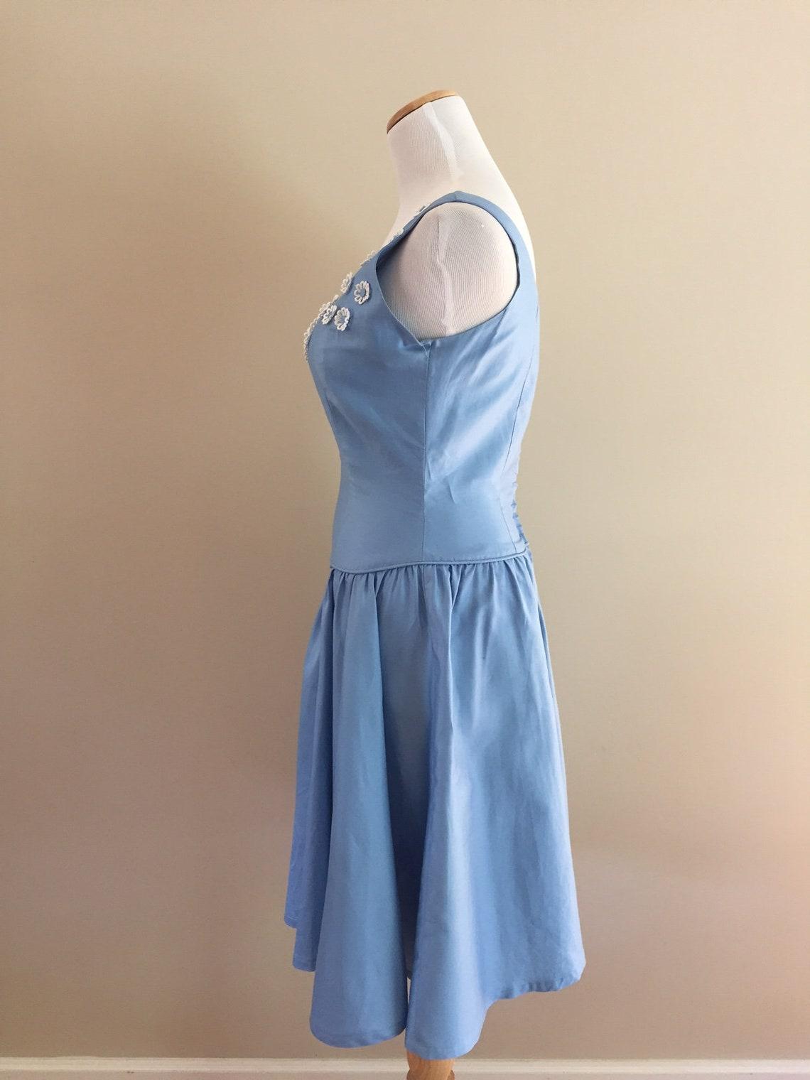 1950's Vintage Blue Cotton Sundress/Sweetheart