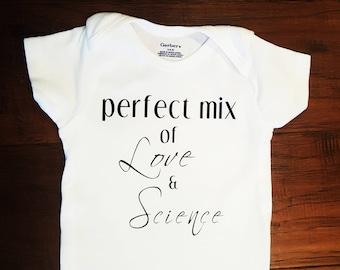 Perfect Mix of Love & Science Onsie. Made to Order. IVF Onsie