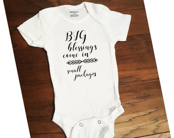 BIG blessings come in small packages. Baby Onsie.