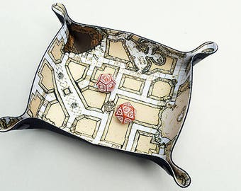 Compact Dice Tray for RPG gaming illustrated dungeon map beige (geomorphic megadungeon)
