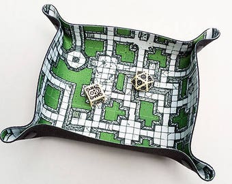 Compact Dice Tray - green dungeon map illustration (geomorph megadungeon) theme