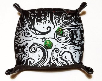 """Square Dice Tray """"Stars Are Right"""" Cthulhu tentacle illustration foldable soft neoprene RPG dice tray"""