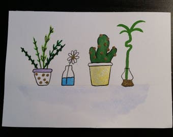 Glitter Plants Watercolour Painting