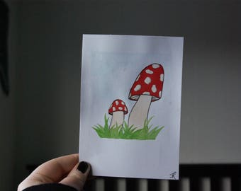 Red Toadstools Watercolour Painting