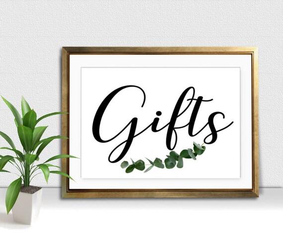 Wedding Gift Table: Gifts Sign Eucalyptus Wedding Gift Table Printable Wedding