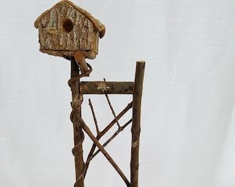 Vintage Rustic Twig & Vine Chair with Birdhouse