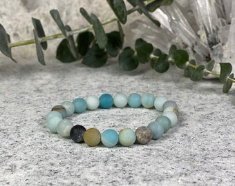 8mm Frosted Matte Amazonite 45-47 Beads  Semi Precious Spiritual Health And Wellness Beads Essential Oil Bracelets Necklaces Amazonite