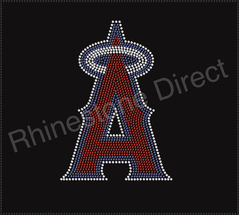 Angels Baseball Rhinestone Iron on Transfer