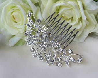 Crystal flower hair comb, bridal hair comb, wedding hair comb, wedding hair accessories, bridal hair jewellery, silver hair comb