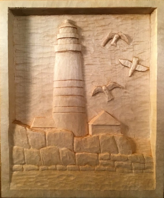 Boston light relief carving etsy