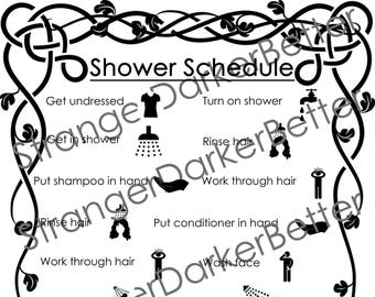 Shower Schedule Visual Schedule for Adults Black and White Laminated Copy